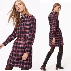 Ann Taylor Loft | Smocked Neck Shirt Dress | Sz Sm